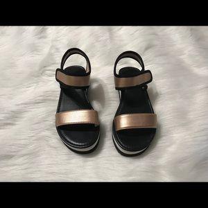 Black Rose Gold Velcro Strap Sandals